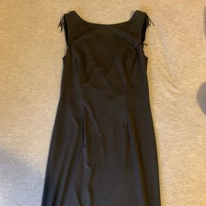 Long black dress with black beaded droop back